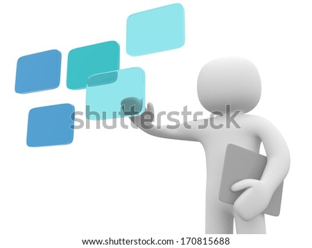 3d man clicking on a digital touch screen - 3d render illustration - stock photo