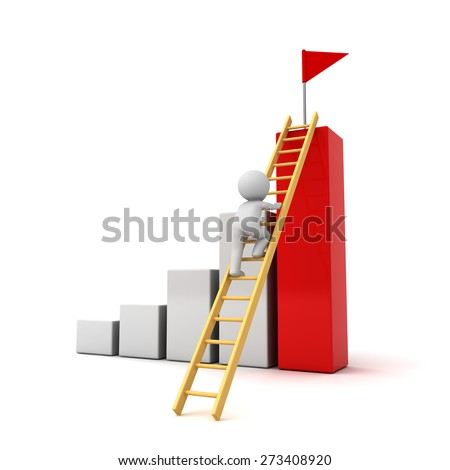 3d man climbing ladder to the red flag on top of successful graph , Business goal concept isolated over white background - stock photo