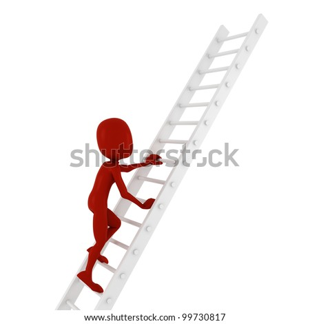 3d man climbing on a ladder