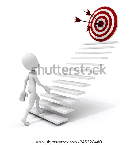 3d man climbing on a stair to success - stock photo