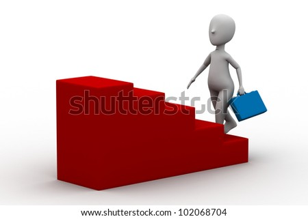 3d man climbing on a step