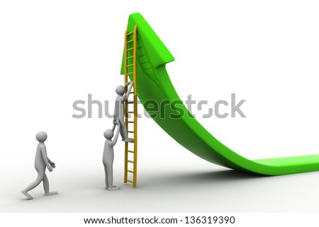 3d man climbs up the stairs on the arrow on a white background