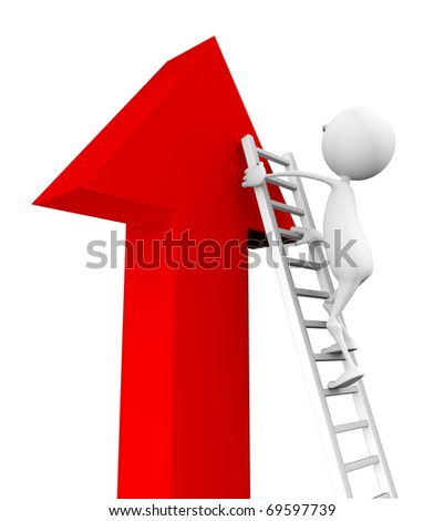 3d man climbs up the stairs on the arrow on a white background.