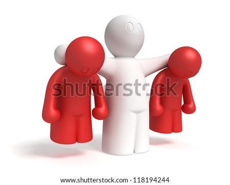 3d man collars two guilty men on white background, isolated - stock photo