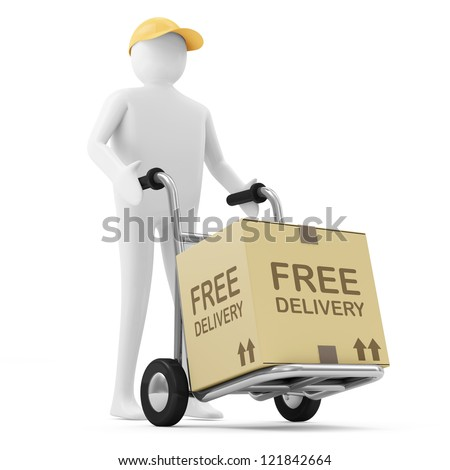 3d Man Delivers the Goods (Free Delivery Concept) - stock photo
