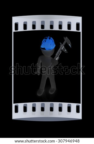 3d man engineer in hard hat with vernier caliper on a black background. The film strip