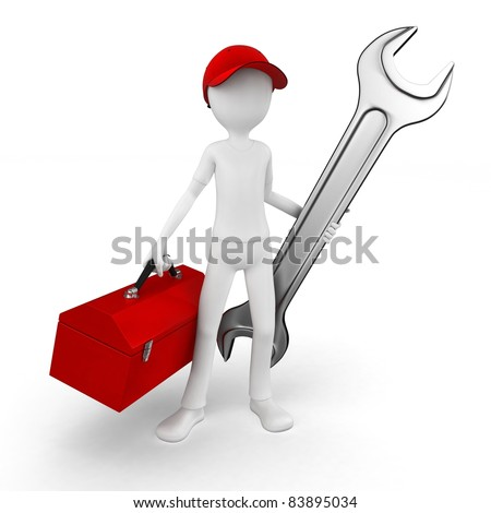 3d man engineer with toolbox and wrench on white - stock photo