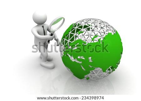 3d man examine the world  - stock photo