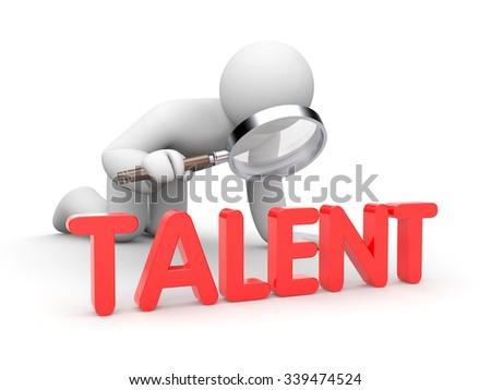 3d man examine word Talent  - stock photo