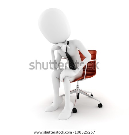3d man executive sitting in a chair planing the next move , on white background