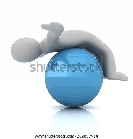 3d man exercising position on fitness ball. My biggest pilates series - stock photo