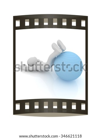 3d man exercising position on fitness ball. My biggest pilates series. The film strip - stock photo