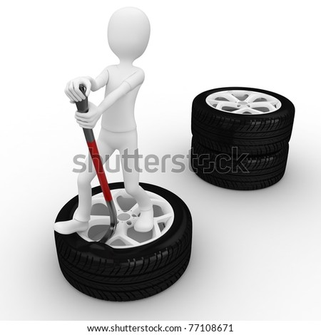 3d man fixing a tire isolated on white - stock photo
