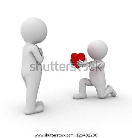 3d man getting down on one knee and giving heart to his lover over white background