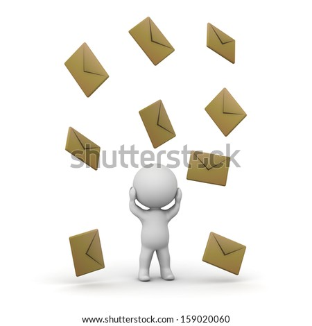 3D Man getting too many emails  - stock photo