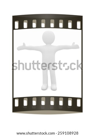 3D man happy man with wide open hands. The film strip - stock photo