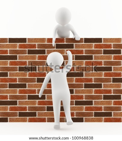 3D man helping a friend jump over the wall - stock photo