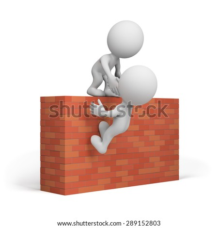 3d man helping friend to climb the wall. 3d image. White background.