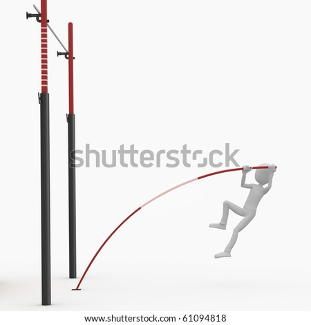 3d man high pole jump isolated on white