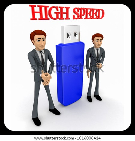 3d man high speed usb concept on white background, side     angle view