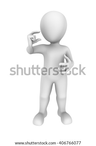 3d man hold small item in hand. 3d illustration.