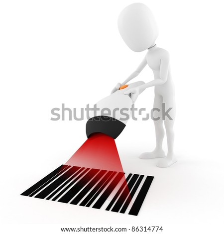 3d man holding a bar code scanner, on white background - stock photo