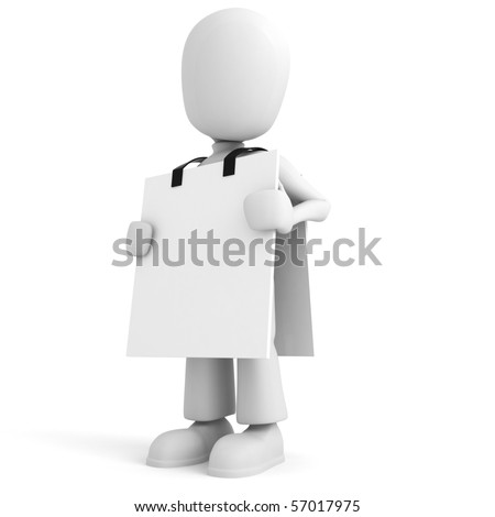 3d man holding a blank tablet - stock photo