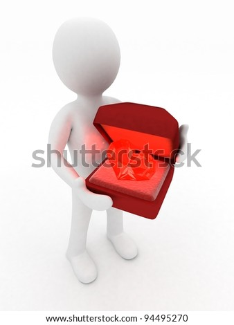3d man holding a box with a diamond heart