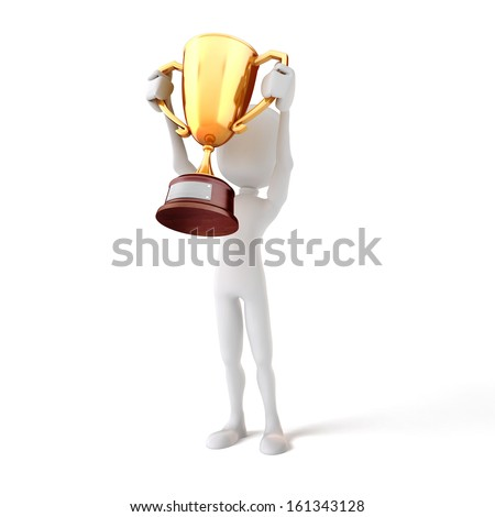 3d man holding a gold trophy cup on white background - stock photo