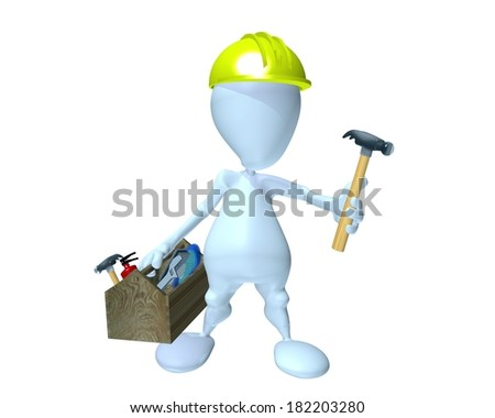 3d man holding a hammer while under construction