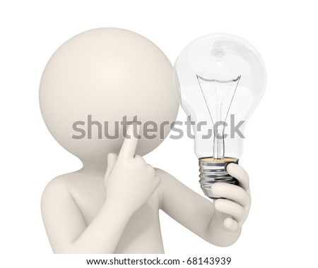 3d man holding a light bulb while thinking - Idea concept - DOF