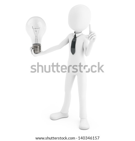 3d man holding a light bulb while thinking on white background