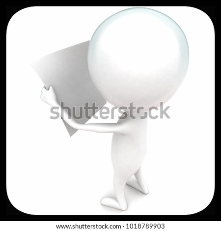 3d man holding a paper in hands concept in white isolated background - 3d rendering ,  top angle view