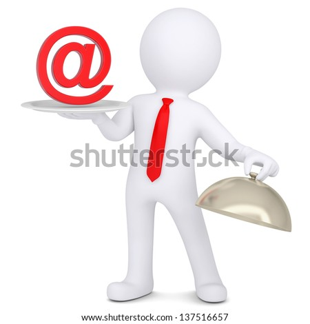 3d man holding a sign e-mail on the dish. Isolated render on a white background