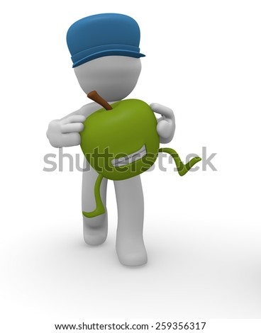 3d man holding a smiling apple on a white background