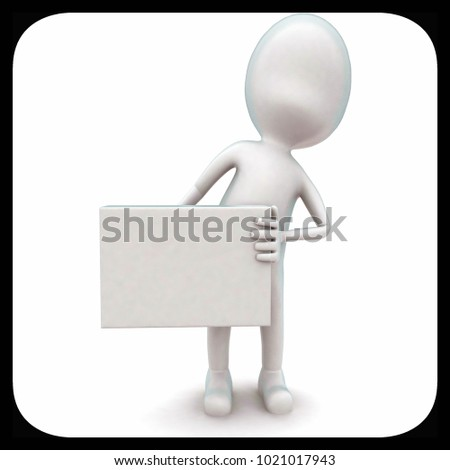3d man holding a whte board in hands concept in white isolated background - 3d rendering ,  front angle view