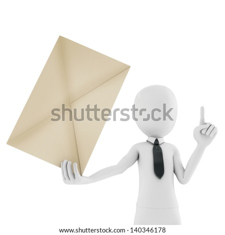 3d man holding an envelope isolated on white background - stock photo