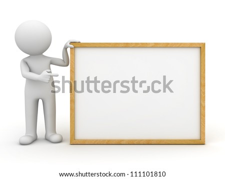 3d man holding blank board and pointing finger at it over white background