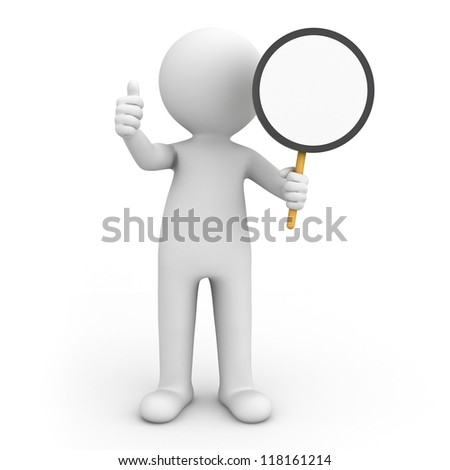 3d man holding blank circle sign and showing thumbs up over white background - stock photo