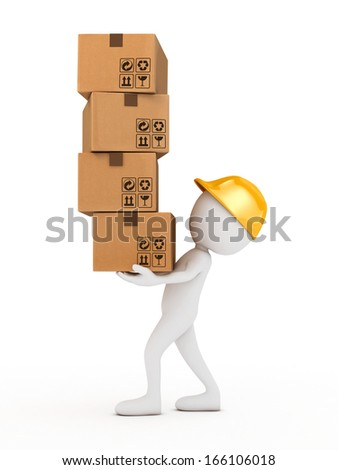 3d man holding cardboard boxes- isolated - stock photo