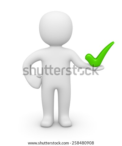 3d man holding check mark - stock photo