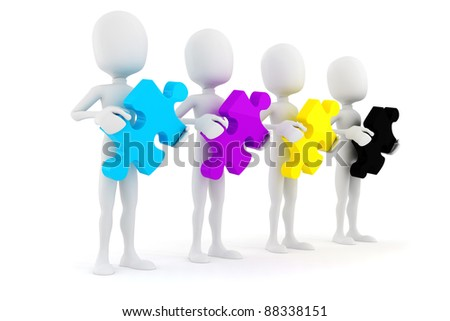 3d man holding colorful CMYK puzzle pieces, on white background - stock photo