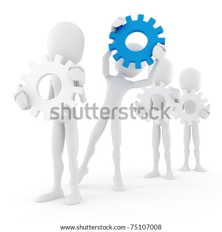 3d man holding colorful gear wheels - stock photo