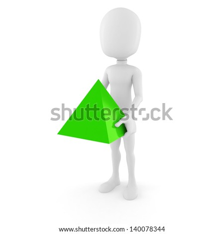 3d man holding geometric element