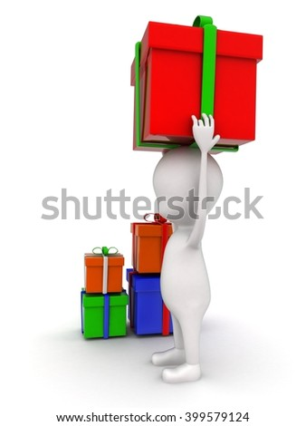 3d man holding gift on head and with many other gifts concept on white background - 3d rendering , side angle view - stock photo