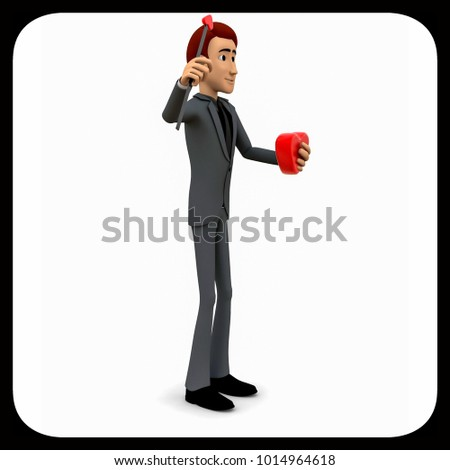 3d man holding love arrow concept on white background - 3d rendering ,   side angle view