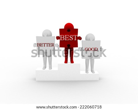 3d man holding puzzle with compare word - stock photo