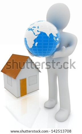3d man, house and earth