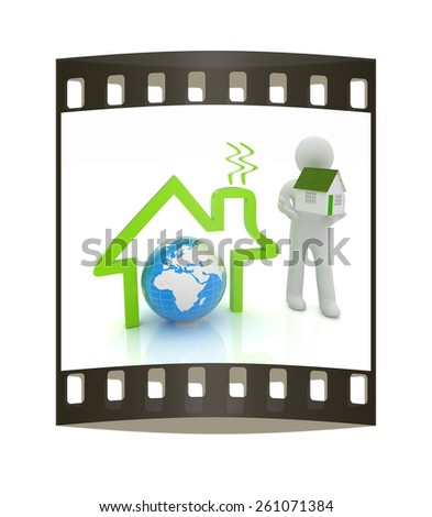 3d man, house icon and earth. The film strip - stock photo