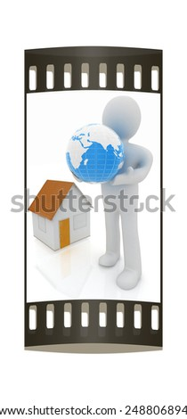 3d man, houses and earth on a white background. The film strip - stock photo